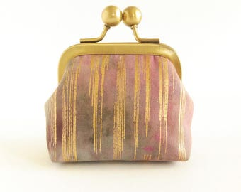 Coin Purse, Retro Style Coin Purse, Kisslock Purse, Clasp Coin Purse, Ear Bud Case, Earphone Holder, Jewelry Case in Batik with Gold Stripes