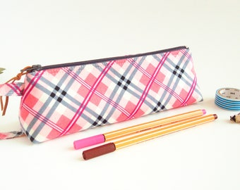 Pink Plaid Zipper Pouch, Small Pencil Case, Small Stationery Pouch, Desk Accessory, Makeup Brush Pouch, Student Gift, Back to School Pouch