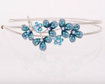Crystal flower bridal headband wedding headband tiara floral flower crystal wedding bridal hair accessories