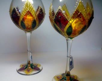 Set of 2 hand painted wine glasses