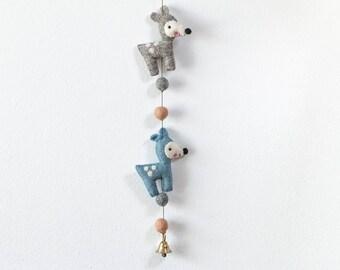 Garland Bambi made of felt handmade work