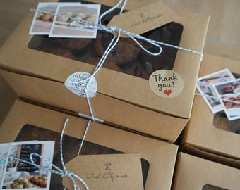 5 Kraft Gift Boxes for cakes, cupcakes or muffins - perfect for gifts, weddings, events