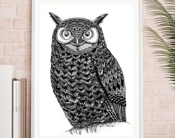 Owl, Eagle Owl, Bird, Feathers, Zentangle, Hand Drawn, Illustration, Black and White