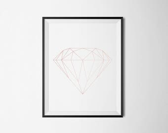 geometric, diamond, shapes, line, wall art, home print, minimal, bedroom, study room, artwork, rose gold