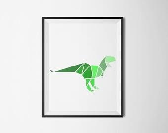 green ,dinosaur, wall art, children's room, minimal, boys room, girls room, shades of blue, artwork