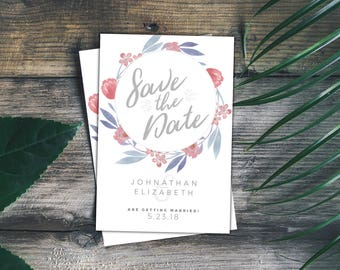 Floral Save the Date, Save the date with flowers, Botanical save the date, Save our Date, Minimal Save the date, Save the Date PDF
