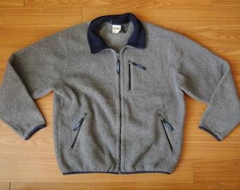 Vintage LL bean fleece gray zip jacket
