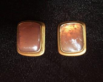 Yves Saint Laurent Vintage Goldtone Clip On Earrings