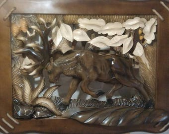 Wood Carved picture deer Gift for the hunter