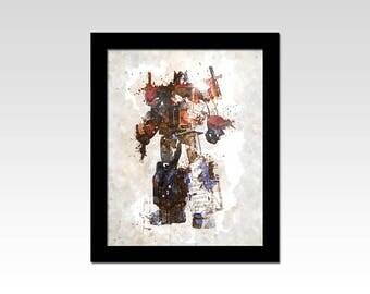 Transformers inspired Optimus Prime watercolour effect print