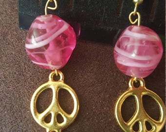 Gold Peace Signs W/Rose Stones