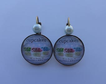 "Earrings cabochon 20mm ""Cake cupcakes"" theme."