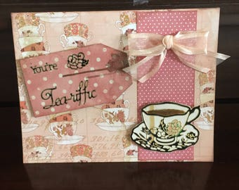 Handmade Tea for Two Card, You're Tea-riffic, coffee time, friendship. best friend, time together, encouragement, thank you, thinking of you