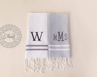 Monogrammed Turkish Towel- Hostess Gift- Bottle Wrap- Kitchen Towel- Hand Towel