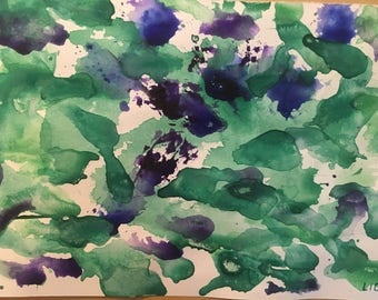 Abstract Art in Purple and Green
