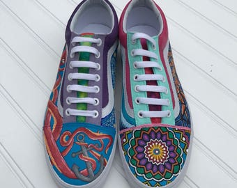 Painted Vans / Custom Vans / Hand Painted Shoes / Artsy Shoes / Vans Off The Wall / Tie-Dye Vans / Shoe Gift / Birthday Gift / Sneakers