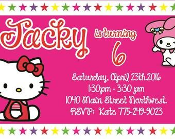 Digital,Hello Kitty,Kitty,Kitty invitation,Kitty Birthday,Personalized,Hello Kitty Invitation,