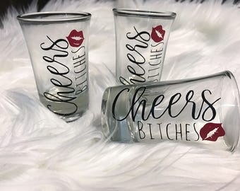 Bachelorette Party Shot Glasses/Party Favors/Bridesmaid Gifts/Personalized Shot Glass/Red Lips