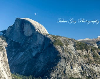 Photograph: Half Dome and moon - Yosemite (5600 x 3700)