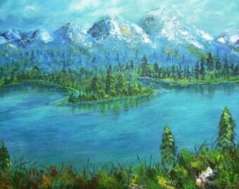 Emerald lake painting - lakeside painting - Lake Scene - relaxing Lake wall art- original painting - acrylic painting - lake room decor