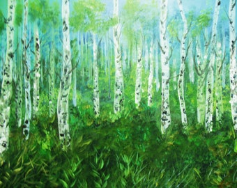 Birch tree painting - birch forest  - misty forest- Acrylic painting - canvas painting - forest Wallart - landscape painting - canvas art