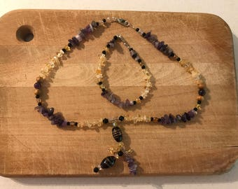 Amethyst and Amber necklace and bracelet