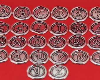 Add a silver wax seal letter charm, personalise my piece, initial charm, add on charm, Customise my jewelry