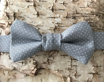bow tie, kids bow tie, toddler bow tie, bow tie for boys, gray bow tie, white polka dot bow tie, cotton bow tie, trendy bow tie, bow tie