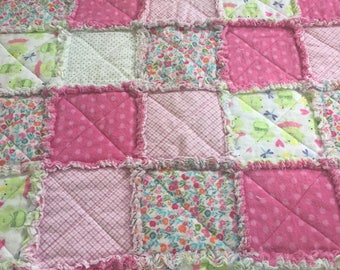 baby quilt, rag quilt, hand made baby quilt