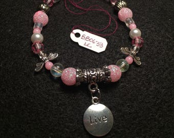 """Pink and Clear Beaded Bracelet with """"Live"""" Charm"""
