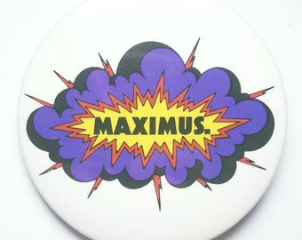 Vintage Retro MAXIMUS. clouds and lightning pinback button 1970s