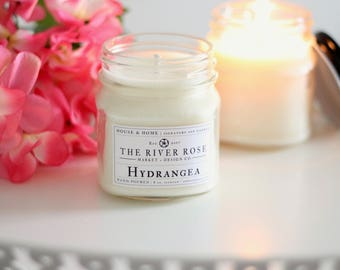 Hydrangea   100% Natural Soy Candle   Hand-Poured