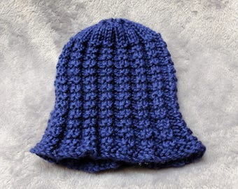 Blue Handmade Knit Hat