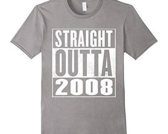 Kids 8th Birthday Gift T-Shirt Straight Outta 2008 For Kids