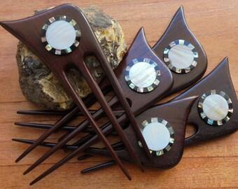 3 Prongs Wood Hair Sticks with Sea Shell Inlay, Hair Pin, Wood Hair Fork, Hair Accessories HS31