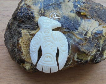 Raven Bone Pendant, Raven Northwest Coast Carving, Bali Bone Carving NWC 4