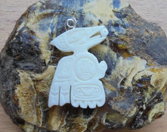 Raven Bone Pendant, Raven Northwest Coast, Bali Bone Carving NWC 6