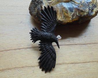 Hand Carved Raven Pendant, Black Raven, Buffalo Horn Carving RV01-2