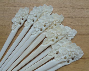 1 Prong Flower Bone Hair Sticks, Hair Pin, Hair Fork, Hair Accessories HS 53-2