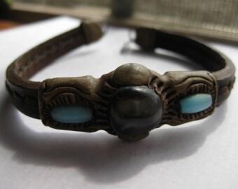 Artisan Leather Sculpted Bracelet