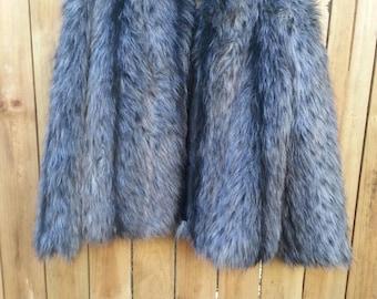 Grey/Black Faux Fur Coat