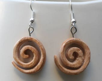 Hand Made Reclaimed Beech Wood Earrings in a Celtic Spiral Design, Wooden Jewellery, Wooden Spiral Earrings, Celtic Earrings