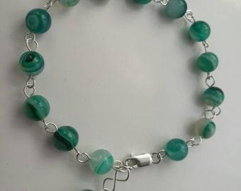 Gorgeous Green Banded Agate handmade bracelet