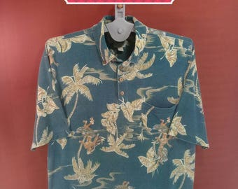 Vintage Hawaiian Shirt Tommy Bahama Shirts Holly Girls Dance Fullprint Shirts Green Colour Size M Hawaiian Shirt Sun Surf Beach Club Shirts
