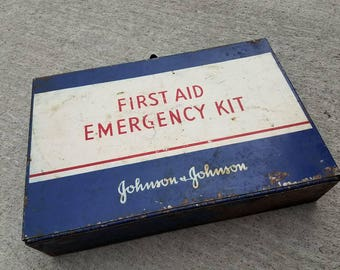 Vintage First Aid Kit Johnson and Johnson Wall Mount Metal Case Rustic Shop Garage Shed Bathroom Decor Advertising 1950s USA
