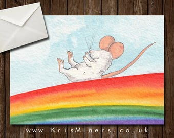 Happy Whimsical Mouse and Rainbow Greetings Card - Rainbow Slide