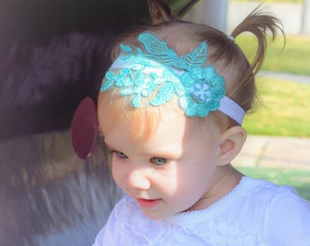 Mint & White Lace Headband