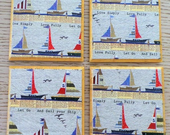 Little Boats coasters, Set of 4 drink coasters, Nautical, birthday gift, coaster gift set, housewarming gift, Drink Mats,Decoupage Coasters