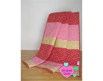 Baby Quilt, Baby Blanket, Crib Quilt   Red/Yellow/Pink Floral