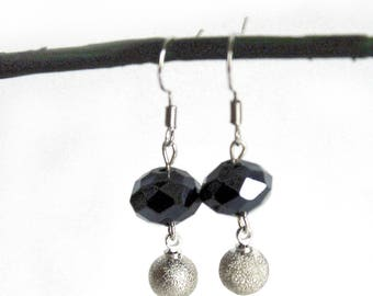 Black crystal and silver Bell earrings